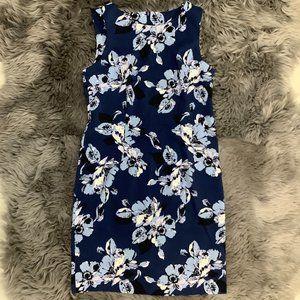 Mario Serrani Ladies Blue Floral Dress: Size 8